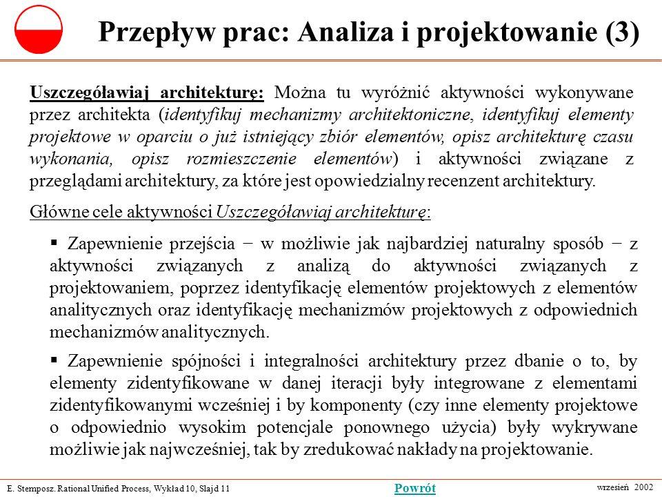 E. Stemposz. Rational Unified Process, Wykład 10, Slajd 11 wrzesień 2002 Powrót Przepływ prac: Analiza i projektowanie (3) Uszczegóławiaj architekturę