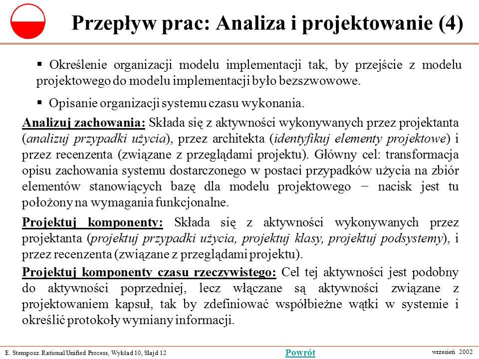 E. Stemposz. Rational Unified Process, Wykład 10, Slajd 12 wrzesień 2002 Powrót Przepływ prac: Analiza i projektowanie (4)  Określenie organizacji mo
