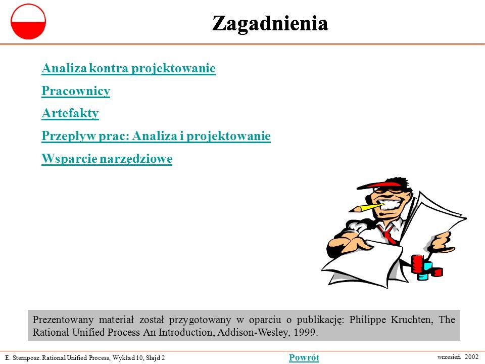 E. Stemposz. Rational Unified Process, Wykład 10, Slajd 2 wrzesień 2002 Powrót Zagadnienia Analiza kontra projektowanie Pracownicy Artefakty Przepływ