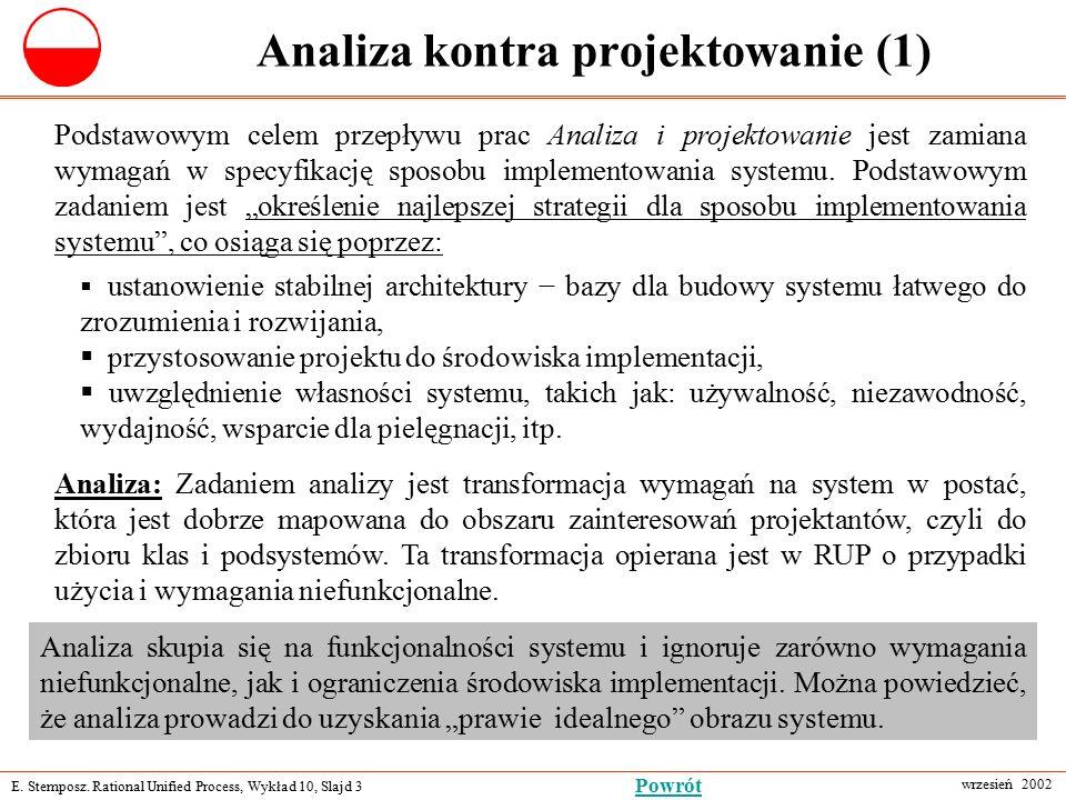 E. Stemposz. Rational Unified Process, Wykład 10, Slajd 3 wrzesień 2002 Powrót Analiza kontra projektowanie (1) Podstawowym celem przepływu prac Anali