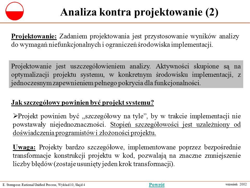 E. Stemposz. Rational Unified Process, Wykład 10, Slajd 4 wrzesień 2002 Powrót Analiza kontra projektowanie (2) Projektowanie: Zadaniem projektowania