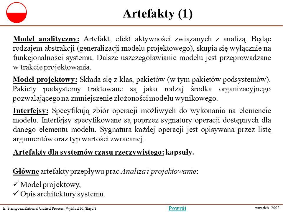 E. Stemposz. Rational Unified Process, Wykład 10, Slajd 8 wrzesień 2002 Powrót Artefakty (1) Główne artefakty przepływu prac Analiza i projektowanie: