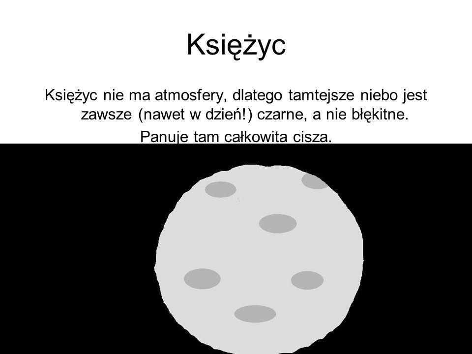 Księżyc Księżyc nie ma atmosfery, dlatego tamtejsze niebo jest zawsze (nawet w dzień!) czarne, a nie błękitne.