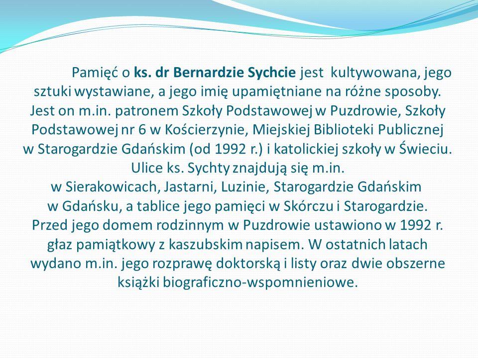 Pamięć o ks. dr Bernardzie Sychcie jest kultywowana, jego sztuki wystawiane, a jego imię upamiętniane na różne sposoby. Jest on m.in. patronem Szkoły