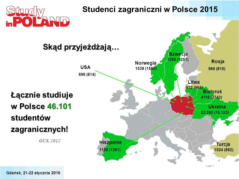 Ukraina Białoruś GUS, 2012 Łącznie studiuje w Polsce 46.101 studentów zagranicznych! 696 (814) USA Norwegia 1538 (1580) Szwecja 1290 (1251) Hiszpania