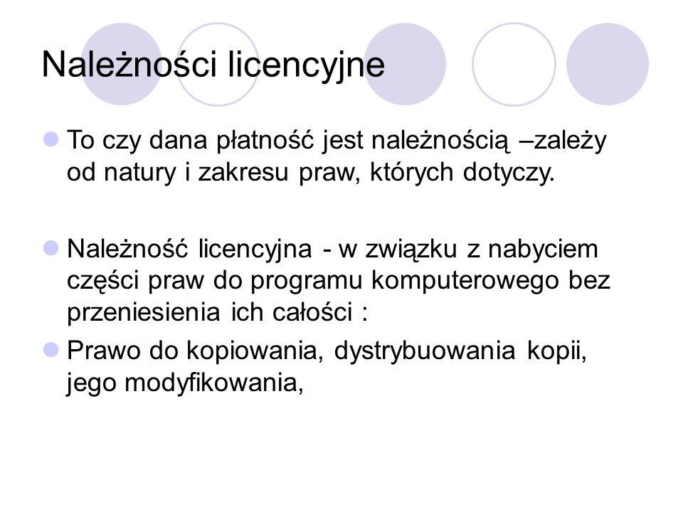 Należności licencyjne To czy dana płatność jest należnością –zależy od natury i zakresu praw, których dotyczy.