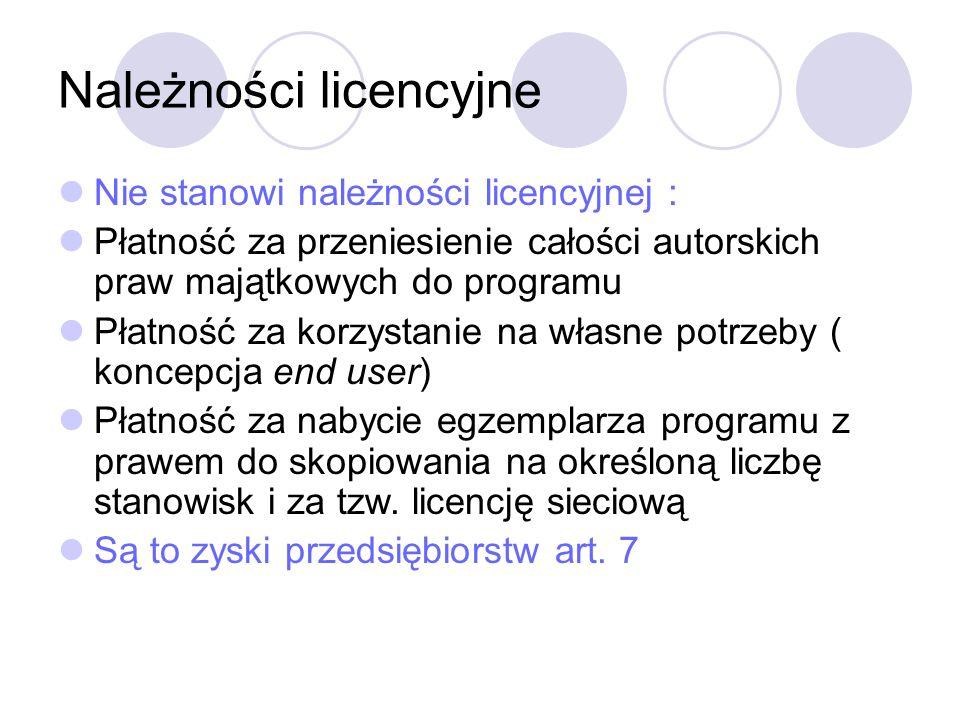 Należności licencyjne Nie stanowi należności licencyjnej : Płatność za przeniesienie całości autorskich praw majątkowych do programu Płatność za korzystanie na własne potrzeby ( koncepcja end user) Płatność za nabycie egzemplarza programu z prawem do skopiowania na określoną liczbę stanowisk i za tzw.