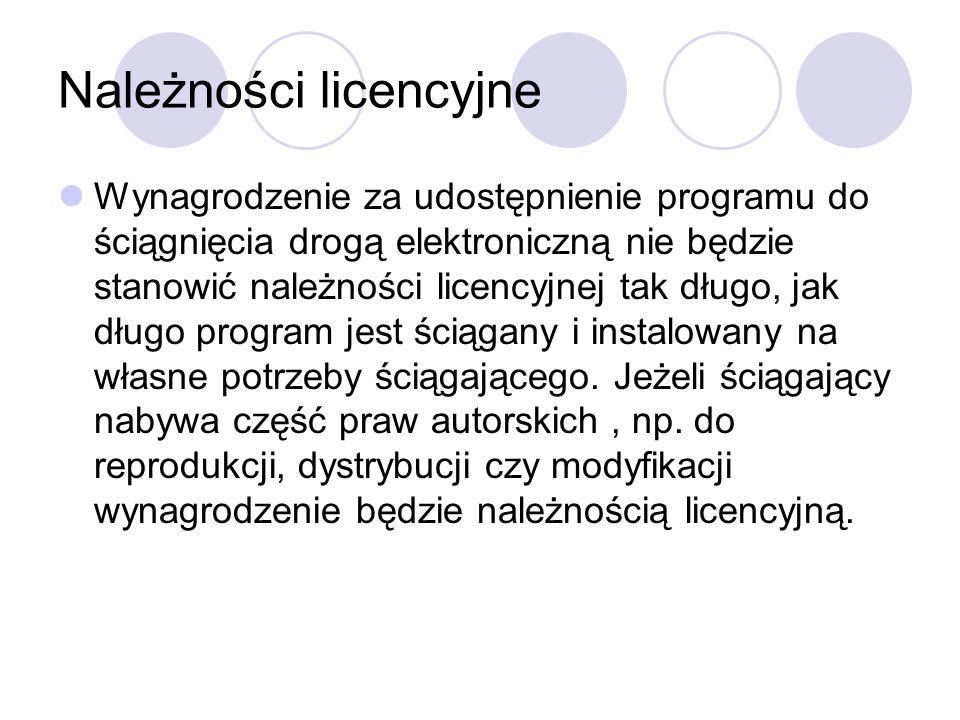 Należności licencyjne Wynagrodzenie za udostępnienie programu do ściągnięcia drogą elektroniczną nie będzie stanowić należności licencyjnej tak długo, jak długo program jest ściągany i instalowany na własne potrzeby ściągającego.