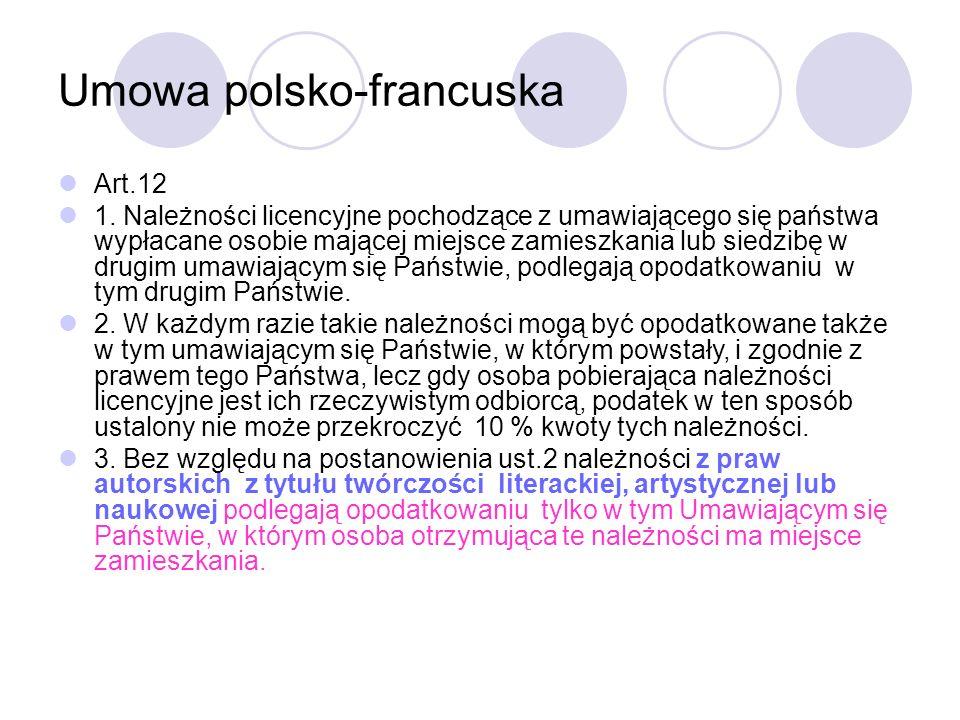 Umowa polsko-francuska Art.12 1.
