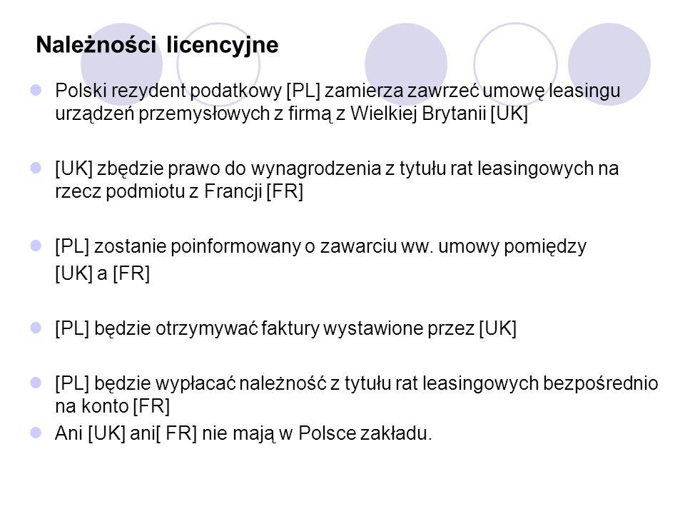 Należności licencyjne Polski rezydent podatkowy [PL] zamierza zawrzeć umowę leasingu urządzeń przemysłowych z firmą z Wielkiej Brytanii [UK] [UK] zbędzie prawo do wynagrodzenia z tytułu rat leasingowych na rzecz podmiotu z Francji [FR] [PL] zostanie poinformowany o zawarciu ww.