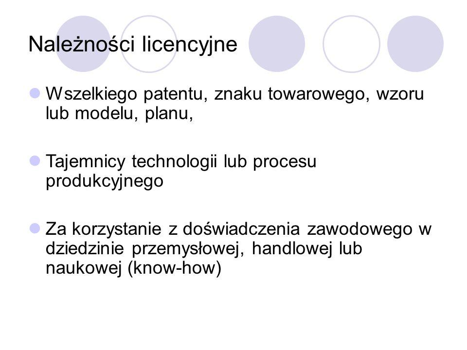 Należności licencyjne Wszelkiego patentu, znaku towarowego, wzoru lub modelu, planu, Tajemnicy technologii lub procesu produkcyjnego Za korzystanie z doświadczenia zawodowego w dziedzinie przemysłowej, handlowej lub naukowej (know-how)