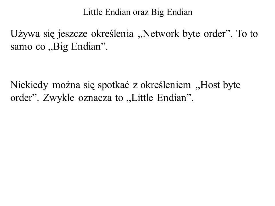 """Little Endian oraz Big Endian Używa się jeszcze określenia """"Network byte order"""". To to samo co """"Big Endian"""". Niekiedy można się spotkać z określeniem"""