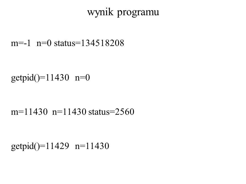wynik programu m=-1 n=0 status=134518208 getpid()=11430 n=0 m=11430 n=11430 status=2560 getpid()=11429 n=11430