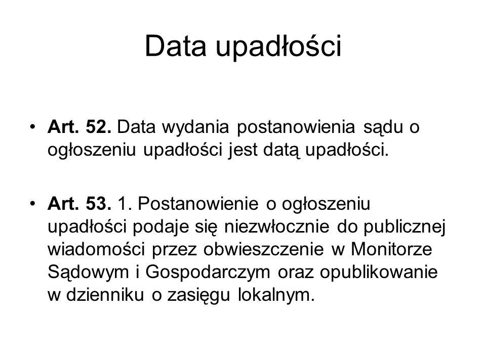 Data upadłości Art. 52. Data wydania postanowienia sądu o ogłoszeniu upadłości jest datą upadłości. Art. 53. 1. Postanowienie o ogłoszeniu upadłości p