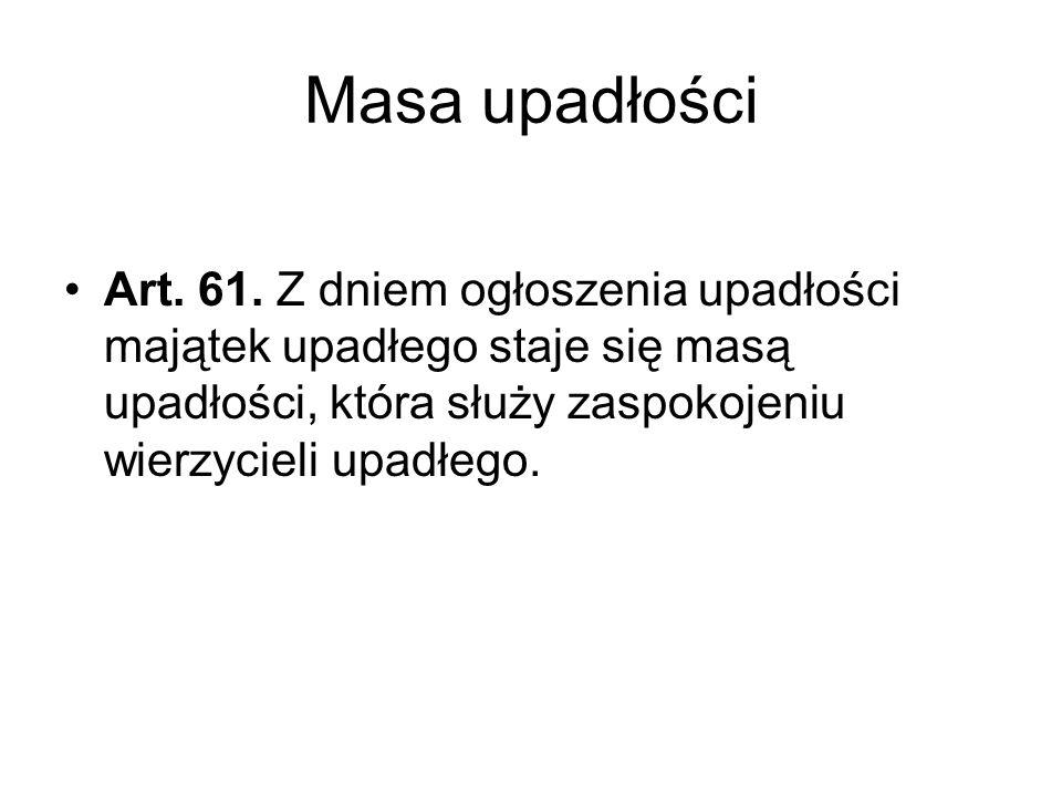 Masa upadłości Art. 61.