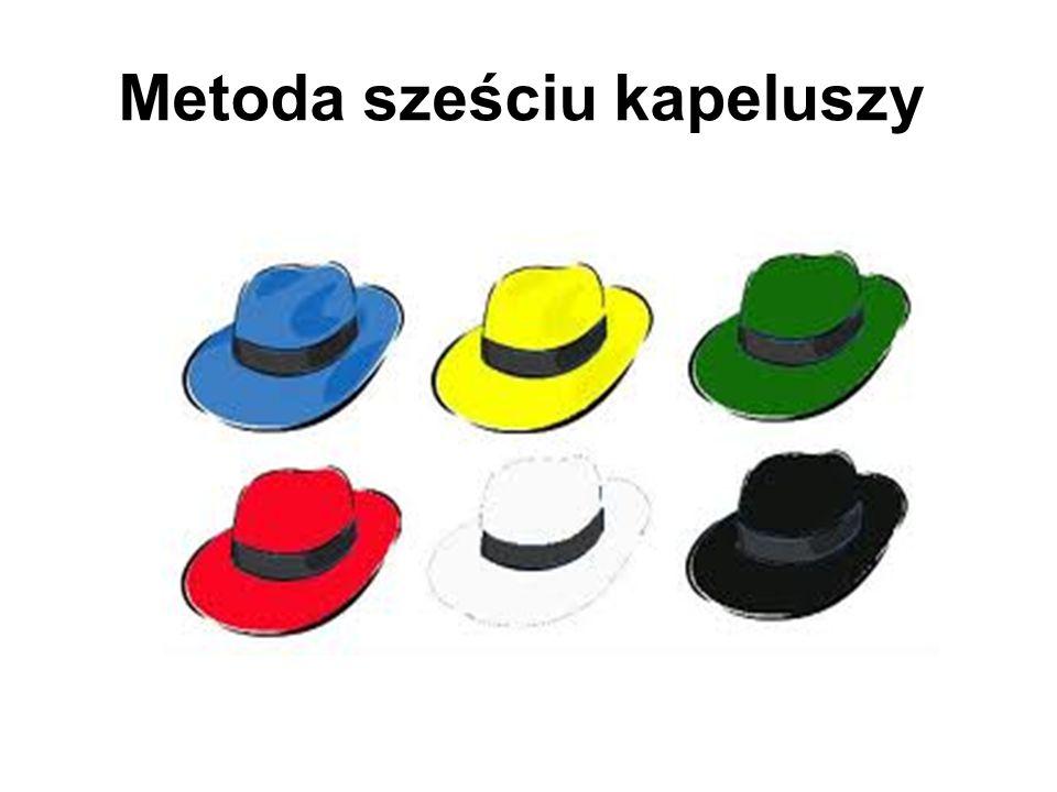 Metoda Sześciu Kapeluszy Idea sześciu kapeluszy pozwala na twórcze podejście do rozwiązywania problemów, wskazuje sześć różnych stron, z jakich można na dany problem postrzegać W każdym kapeluszu myślimy inaczej!