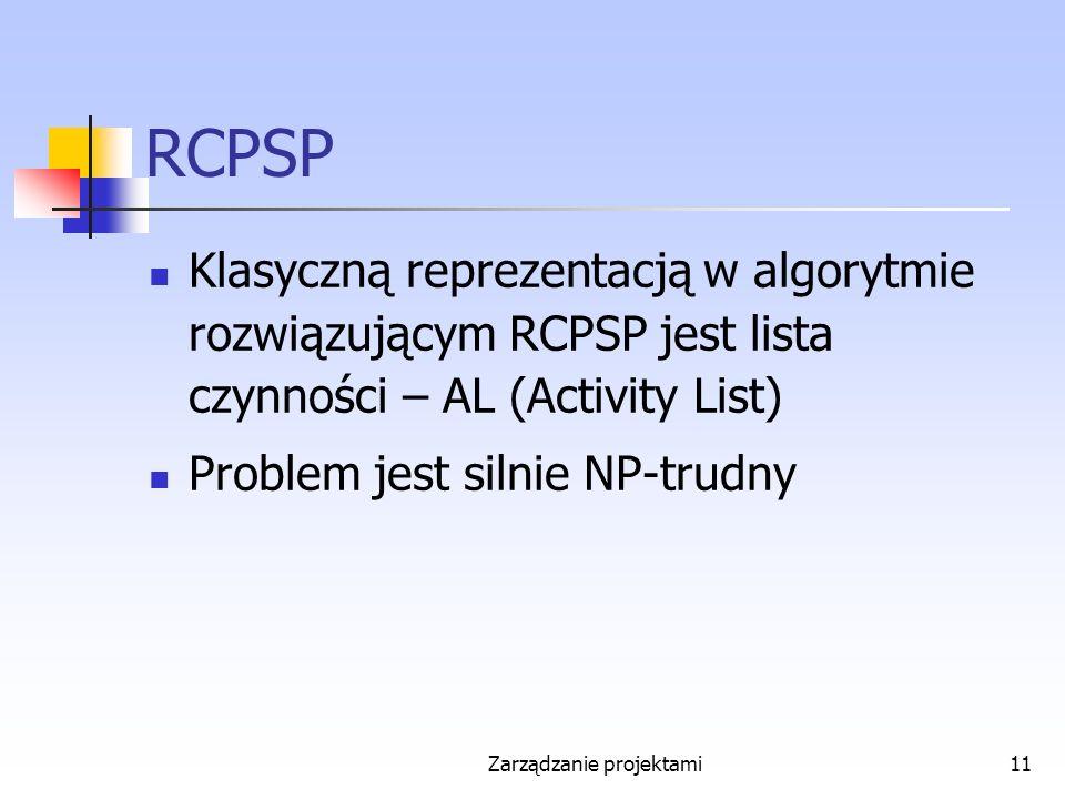 Zarządzanie projektami11 RCPSP Klasyczną reprezentacją w algorytmie rozwiązującym RCPSP jest lista czynności – AL (Activity List) Problem jest silnie NP-trudny