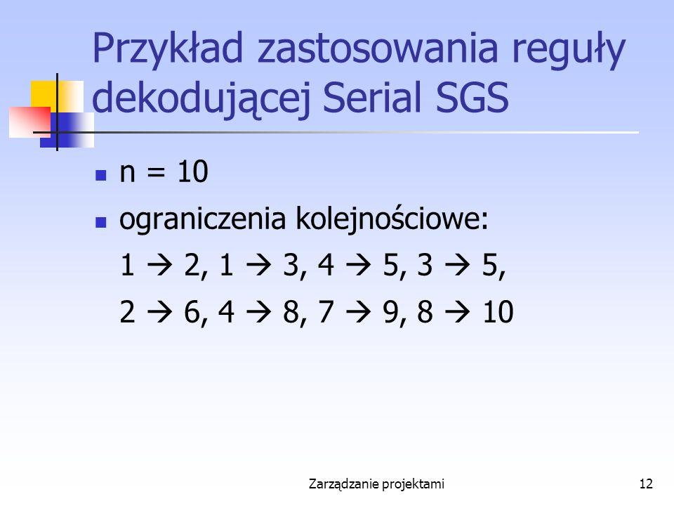 Zarządzanie projektami12 Przykład zastosowania reguły dekodującej Serial SGS n = 10 ograniczenia kolejnościowe: 1  2, 1  3, 4  5, 3  5, 2  6, 4  8, 7  9, 8  10