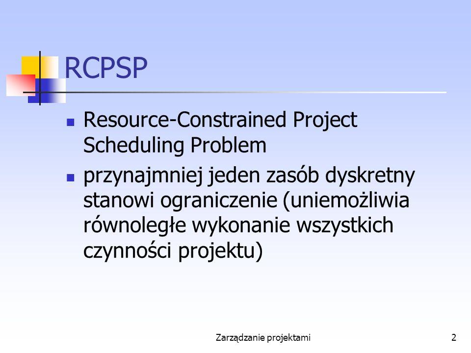 RCPSP Resource-Constrained Project Scheduling Problem przynajmniej jeden zasób dyskretny stanowi ograniczenie (uniemożliwia równoległe wykonanie wszystkich czynności projektu) Zarządzanie projektami2