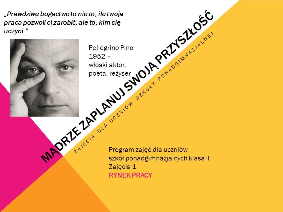 """MĄDRZE ZAPLANUJ SWOJĄ PRZYSZŁOŚĆ ZAJĘCIA DLA UCZNIÓW SZKOŁY PONADGIMNAZJALNEJ Program zajęć dla uczniów szkół ponadgimnazjalnych klasa II Zajęcia 1 RYNEK PRACY """"Prawdziwe bogactwo to nie to, ile twoja praca pozwoli ci zarobić, ale to, kim cię uczyni. Pellegrino Pino 1952 – włoski aktor, poeta, reżyser"""