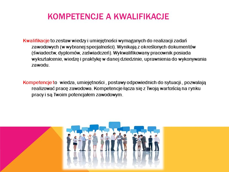 Kwalifikacje to zestaw wiedzy i umiejętności wymaganych do realizacji zadań zawodowych (w wybranej specjalności). Wynikają z określonych dokumentów (ś