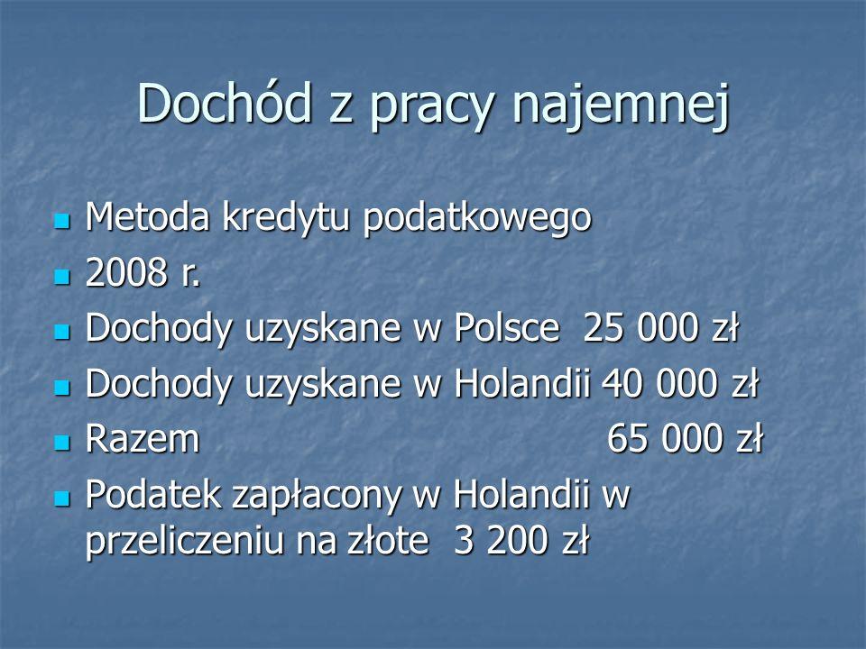 Dochód z pracy najemnej Metoda kredytu podatkowego Metoda kredytu podatkowego 2008 r.