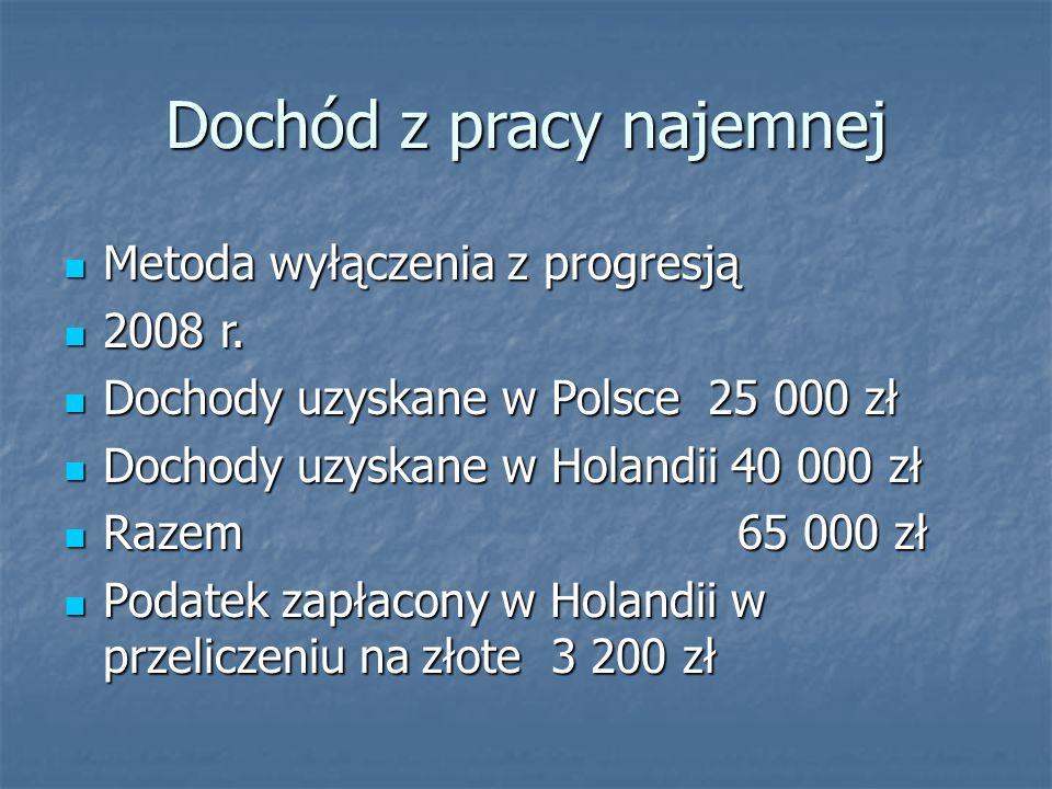 Dochód z pracy najemnej Metoda wyłączenia z progresją Metoda wyłączenia z progresją 2008 r. 2008 r. Dochody uzyskane w Polsce 25 000 zł Dochody uzyska