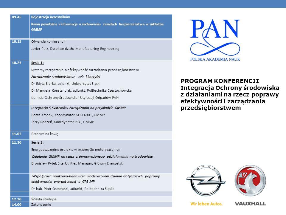 09.45 Rejestracja uczestników Kawa powitalna i informacja o zachowaniu zasadach bezpieczeństwa w zakładzie GMMP 10.15 Otwarcie konferencji Javier Ruiz