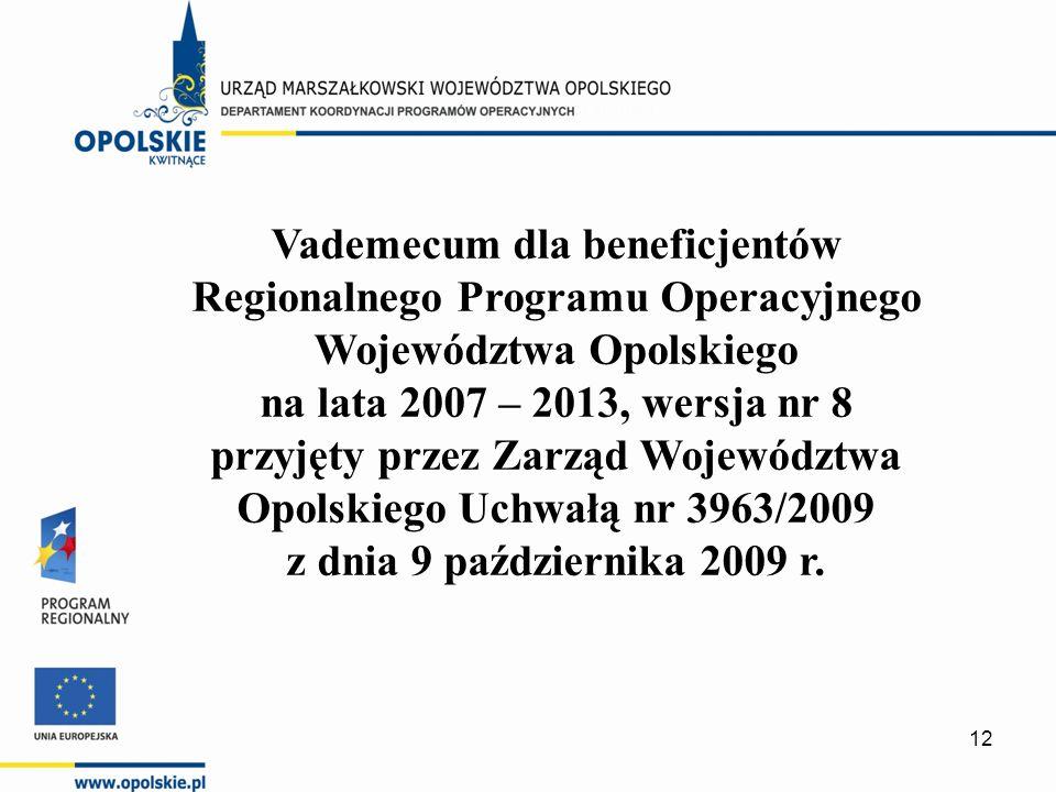 Vademecum dla beneficjentów Regionalnego Programu Operacyjnego Województwa Opolskiego na lata 2007 – 2013, wersja nr 8 przyjęty przez Zarząd Województwa Opolskiego Uchwałą nr 3963/2009 z dnia 9 października 2009 r.
