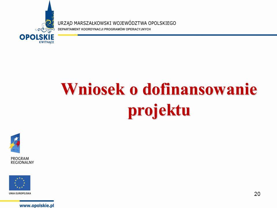 Wniosek o dofinansowanie projektu 20