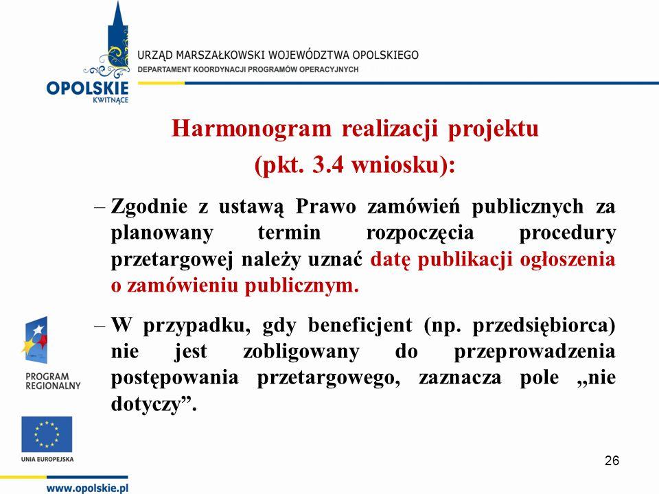 Harmonogram realizacji projektu (pkt. 3.4 wniosku): –Zgodnie z ustawą Prawo zamówień publicznych za planowany termin rozpoczęcia procedury przetargowe