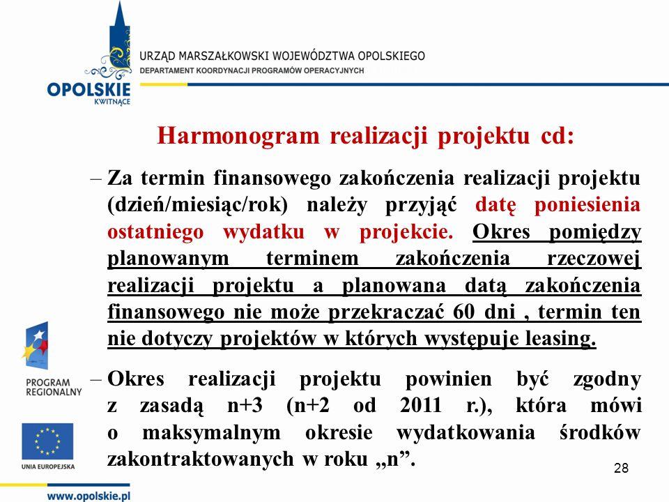 Harmonogram realizacji projektu cd: –Za termin finansowego zakończenia realizacji projektu (dzień/miesiąc/rok) należy przyjąć datę poniesienia ostatniego wydatku w projekcie.