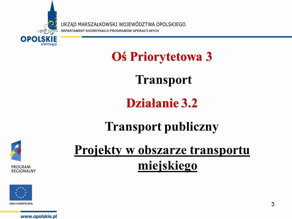  Cel działania: zwiększenie mobilności mieszkańców Opolszczyzny oraz podniesienie atrakcyjności inwestycyjnej regionu poprzez odpowiednio rozwinięty transport publiczny, zwiększenie bezpieczeństwa mieszkańców, ograniczenie natężenia ruchu w centrum miast, ograniczenie emisji spalin.