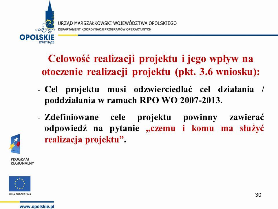 Celowość realizacji projektu i jego wpływ na otoczenie realizacji projektu (pkt.