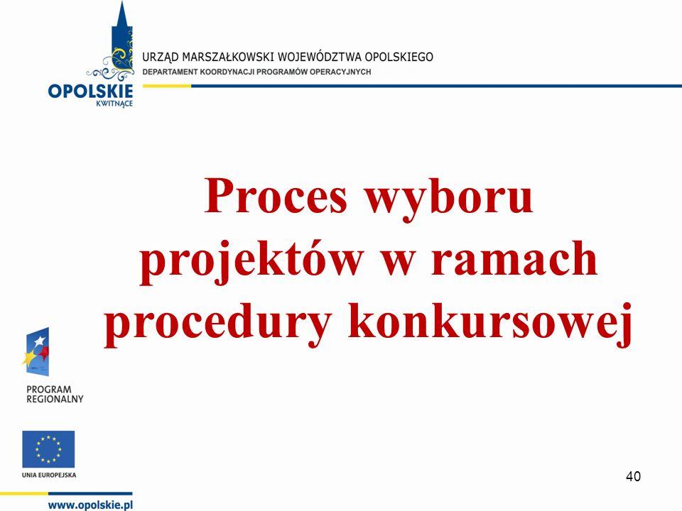 Proces wyboru projektów w ramach procedury konkursowej 40
