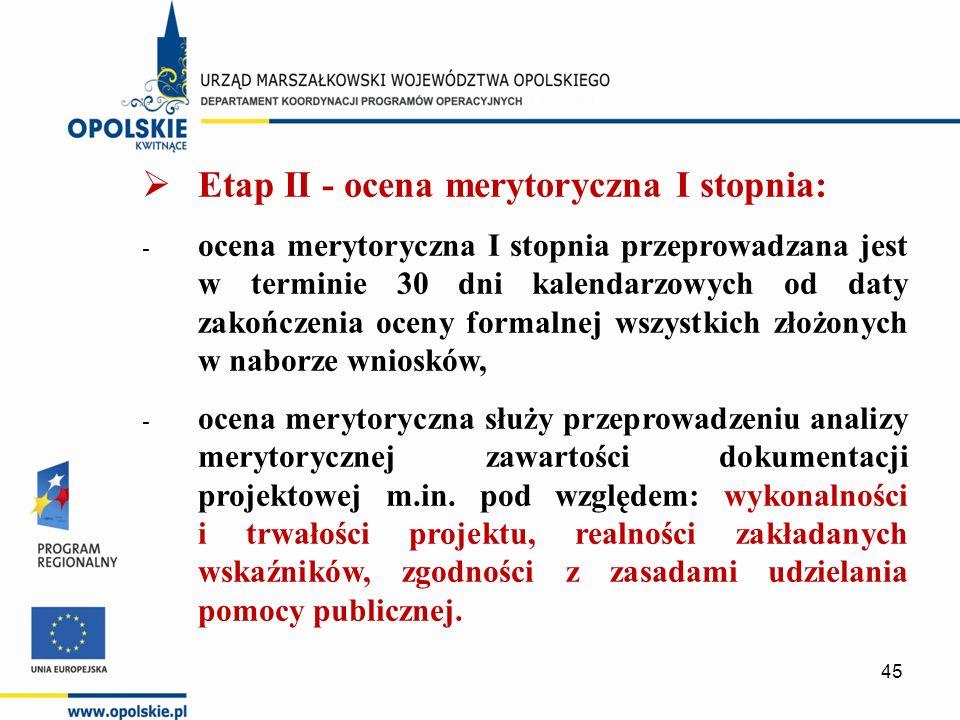  Etap II - ocena merytoryczna I stopnia: - ocena merytoryczna I stopnia przeprowadzana jest w terminie 30 dni kalendarzowych od daty zakończenia oceny formalnej wszystkich złożonych w naborze wniosków, - ocena merytoryczna służy przeprowadzeniu analizy merytorycznej zawartości dokumentacji projektowej m.in.