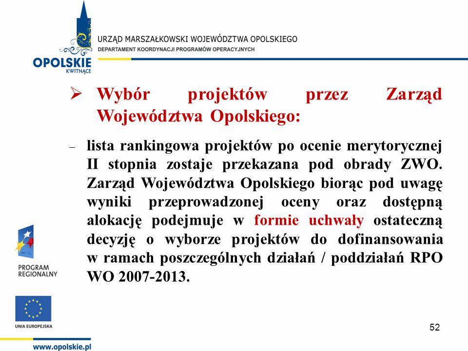  Wybór projektów przez Zarząd Województwa Opolskiego: – lista rankingowa projektów po ocenie merytorycznej II stopnia zostaje przekazana pod obrady ZWO.
