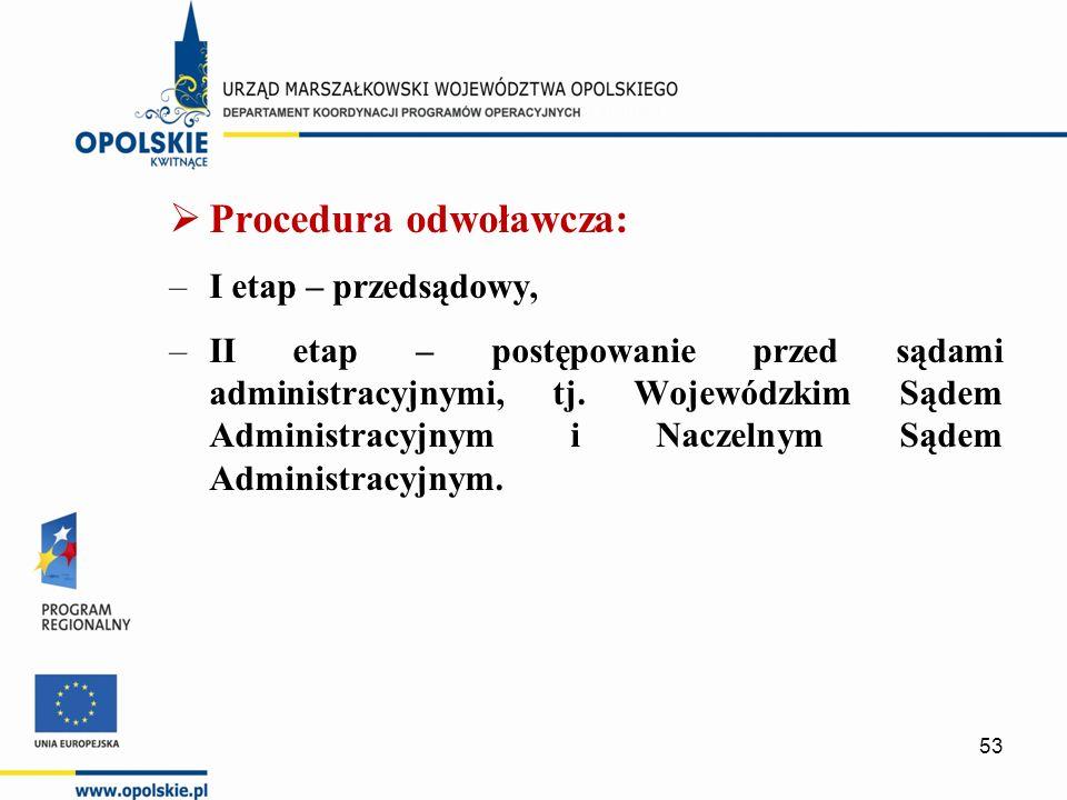  Procedura odwoławcza: –I etap – przedsądowy, –II etap – postępowanie przed sądami administracyjnymi, tj.