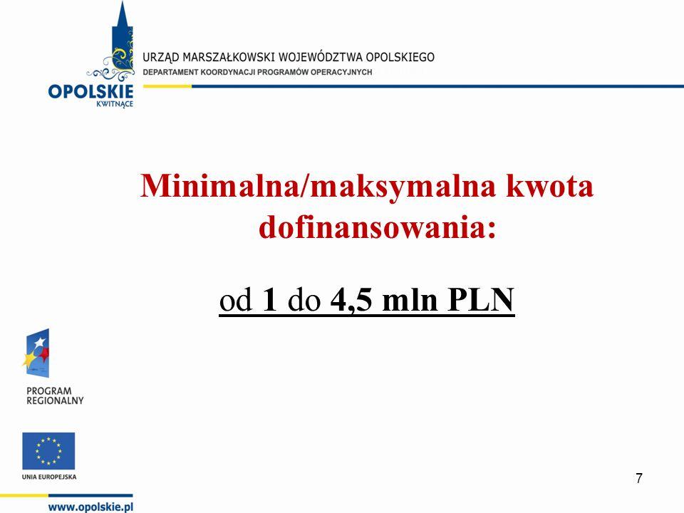 Minimalna/maksymalna kwota dofinansowania: od 1 do 4,5 mln PLN 7