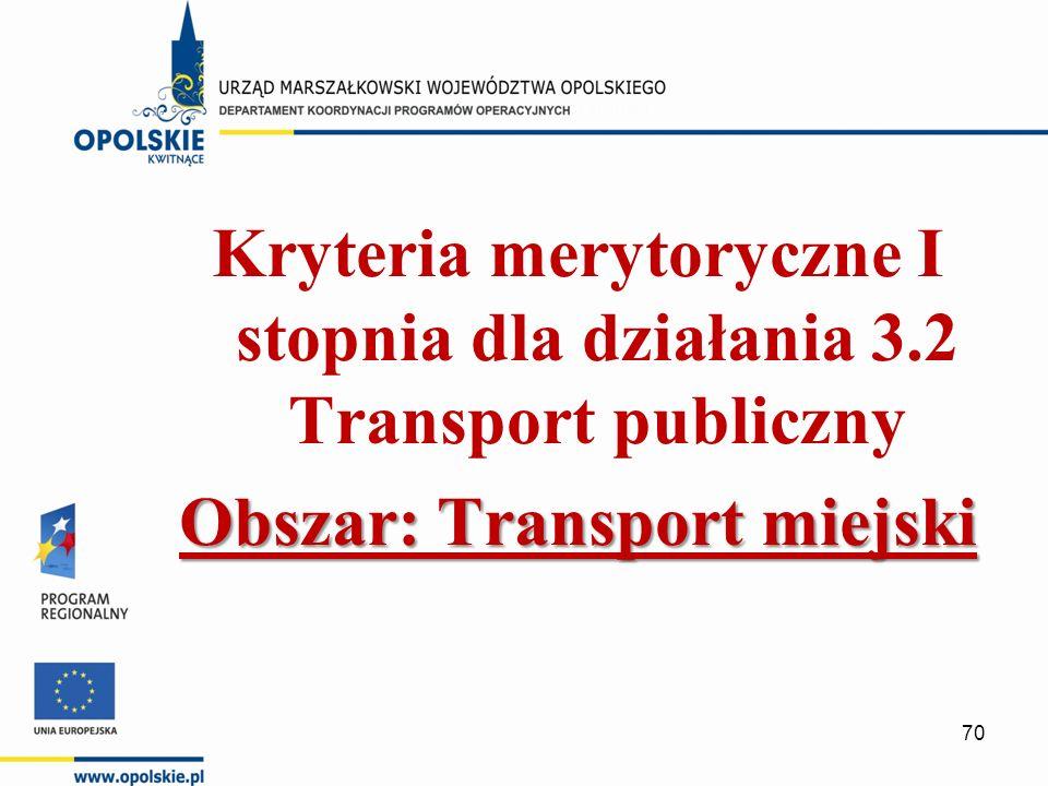 Kryteria merytoryczne I stopnia dla działania 3.2 Transport publiczny Obszar: Transport miejski 70