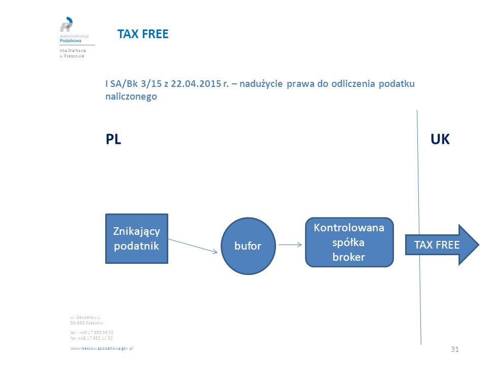 TAX FREE I SA/Bk 3/15 z 22.04.2015 r. – nadużycie prawa do odliczenia podatku naliczonego PL UK Izba Skarbowa w Rzeszowie ul. Geodetów 1 35-959 Rzeszó