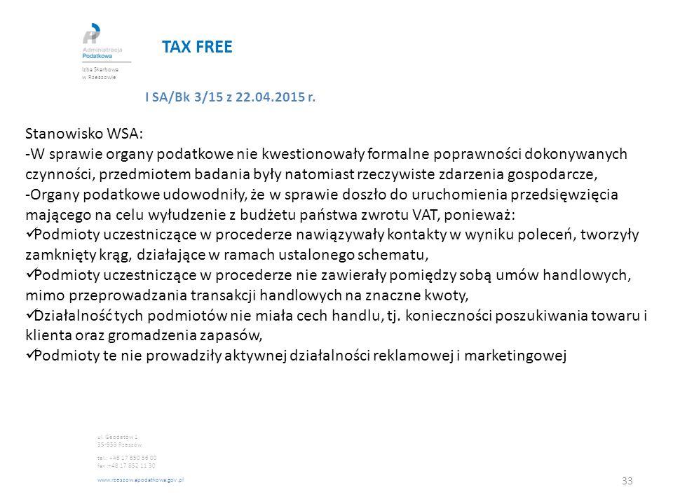 TAX FREE I SA/Bk 3/15 z 22.04.2015 r. Stanowisko WSA: -W sprawie organy podatkowe nie kwestionowały formalne poprawności dokonywanych czynności, przed