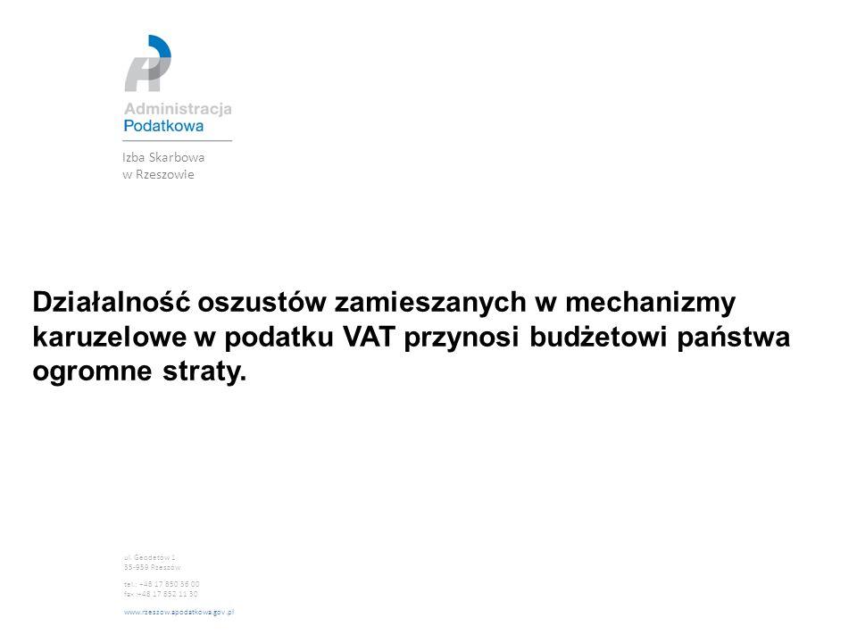 Izba Skarbowa w Rzeszowie ul. Geodetów 1 35-959 Rzeszów tel.: +48 17 850 36 00 fax :+48 17 852 11 30 www.rzeszow.apodatkowa.gov.pl Działalność oszustó