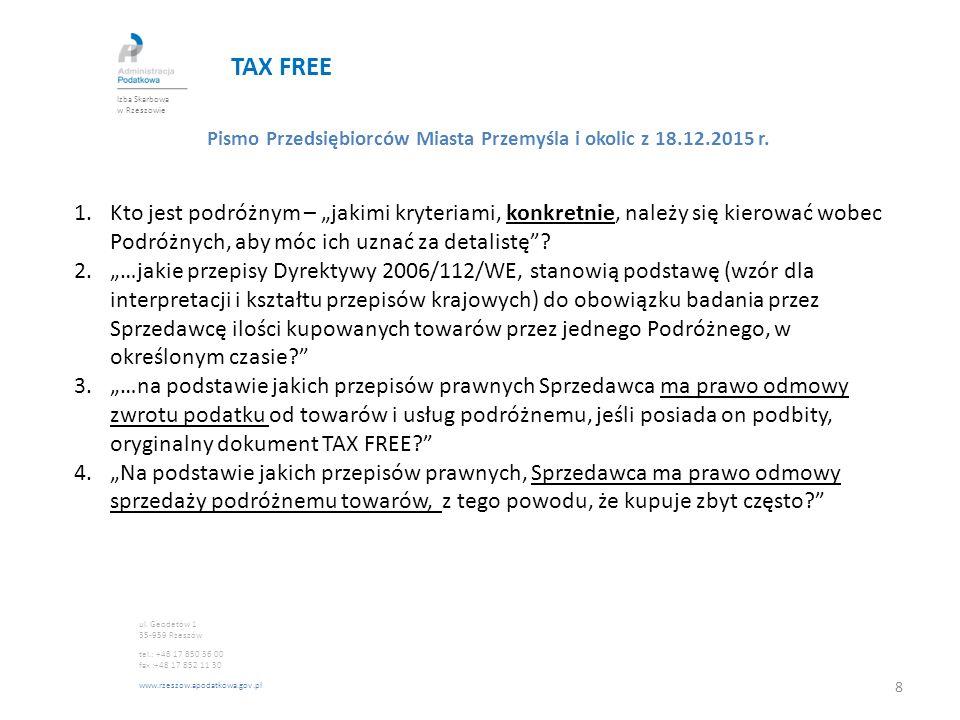 """TAX FREE Pismo Przedsiębiorców Miasta Przemyśla i okolic z 18.12.2015 r. 1.Kto jest podróżnym – """"jakimi kryteriami, konkretnie, należy się kierować wo"""