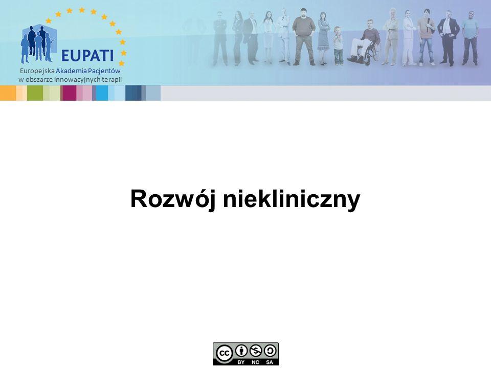 """Europejska Akademia Pacjentów w obszarze innowacyjnych terapii  Po zidentyfikowaniu związku wiodącego (cząsteczki """"kandydującej ) rozpoczynają się badania niekliniczne."""