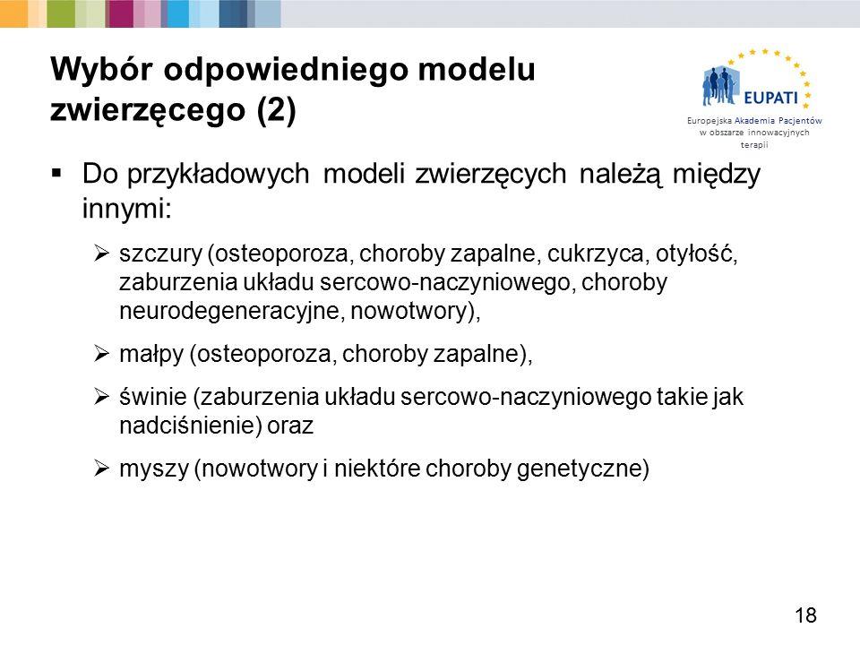 Europejska Akademia Pacjentów w obszarze innowacyjnych terapii  Do przykładowych modeli zwierzęcych należą między innymi:  szczury (osteoporoza, cho