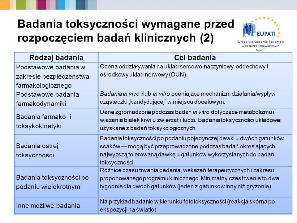 Europejska Akademia Pacjentów w obszarze innowacyjnych terapii Badania toksyczności wymagane przed rozpoczęciem badań klinicznych (2)