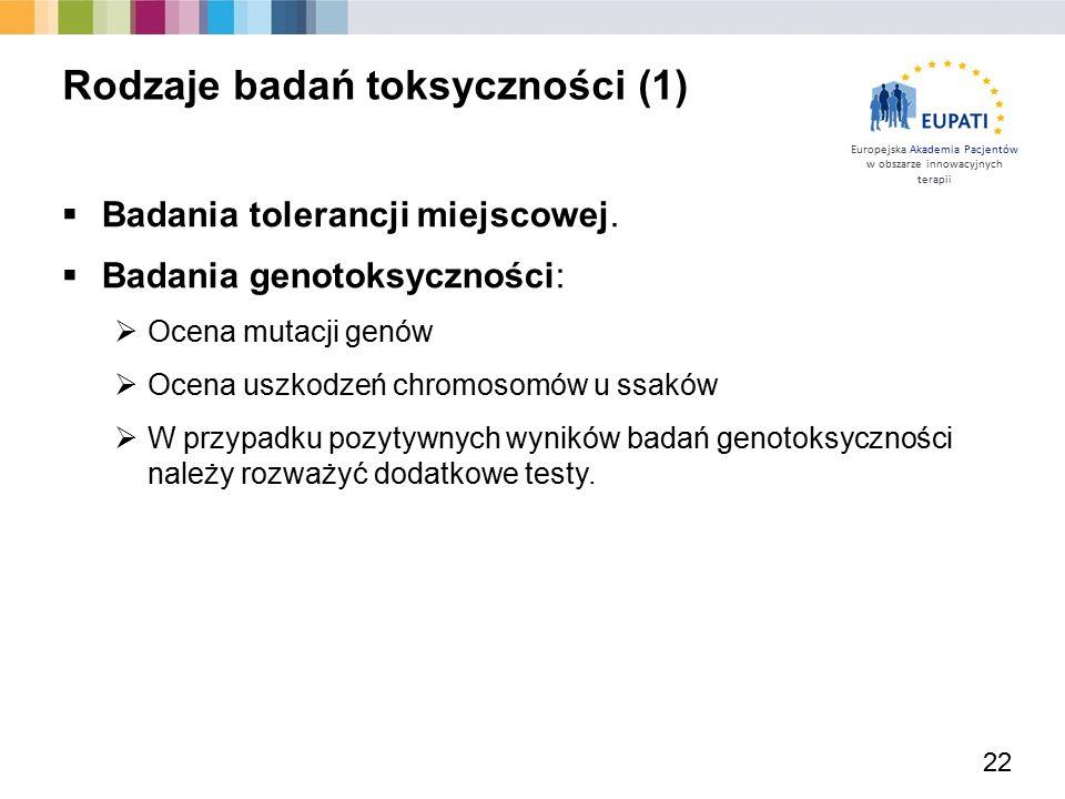 Europejska Akademia Pacjentów w obszarze innowacyjnych terapii  Badania tolerancji miejscowej.  Badania genotoksyczności:  Ocena mutacji genów  Oc