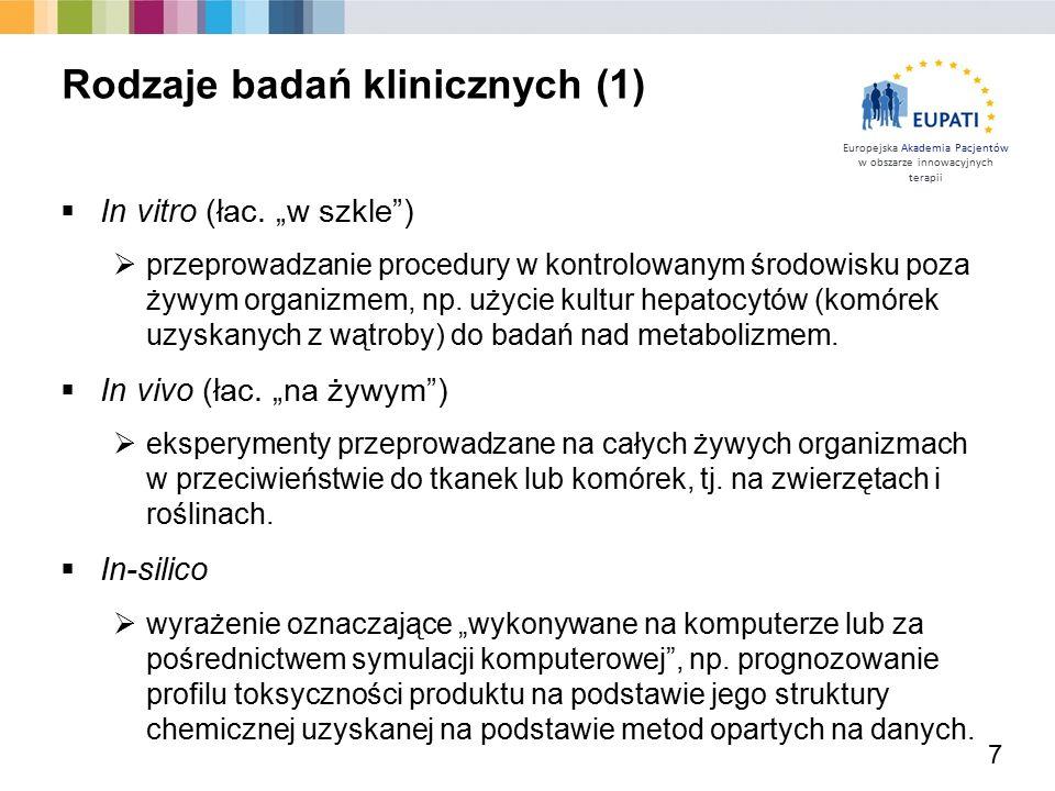 """Europejska Akademia Pacjentów w obszarze innowacyjnych terapii  In vitro (łac. """"w szkle"""")  przeprowadzanie procedury w kontrolowanym środowisku poza"""