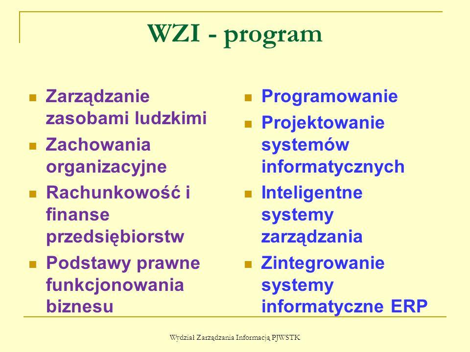 WZI - program Zarządzanie zasobami ludzkimi Zachowania organizacyjne Rachunkowość i finanse przedsiębiorstw Podstawy prawne funkcjonowania biznesu Programowanie Projektowanie systemów informatycznych Inteligentne systemy zarządzania Zintegrowanie systemy informatyczne ERP Wydział Zarządzania Informacją PJWSTK
